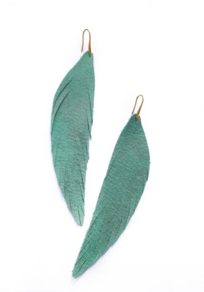 Long Feather Leather Earring - Turquoise Metallic-Long Feather Leather Earrings-Wholesale-Boutique-Clothing-Accessories