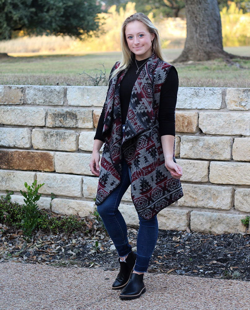 Western Print Vest - Taupe-Kimonos + Outerwear-Wholesale-Boutique-Clothing-Accessories