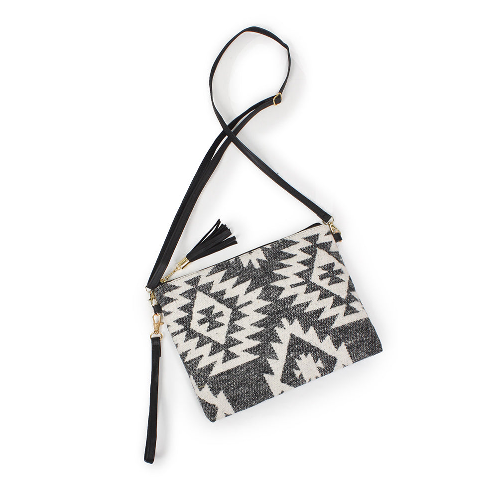 Western Print Crossbody Wristlet Black Large