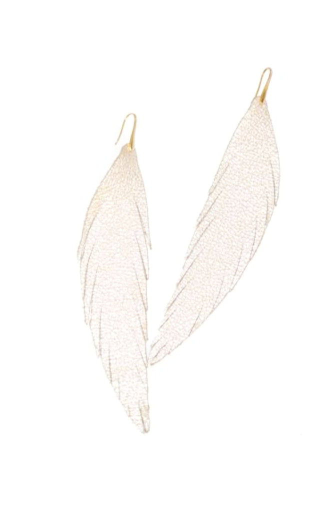 Long Feather Leather Earring - White Sparkle-Long Feather Leather Earrings-Wholesale-Boutique-Clothing-Accessories