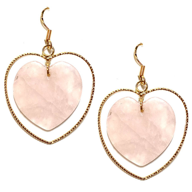 Whitney Heart Earrings - Rose Quartz-Earrings-Wholesale-Boutique-Clothing-Accessories