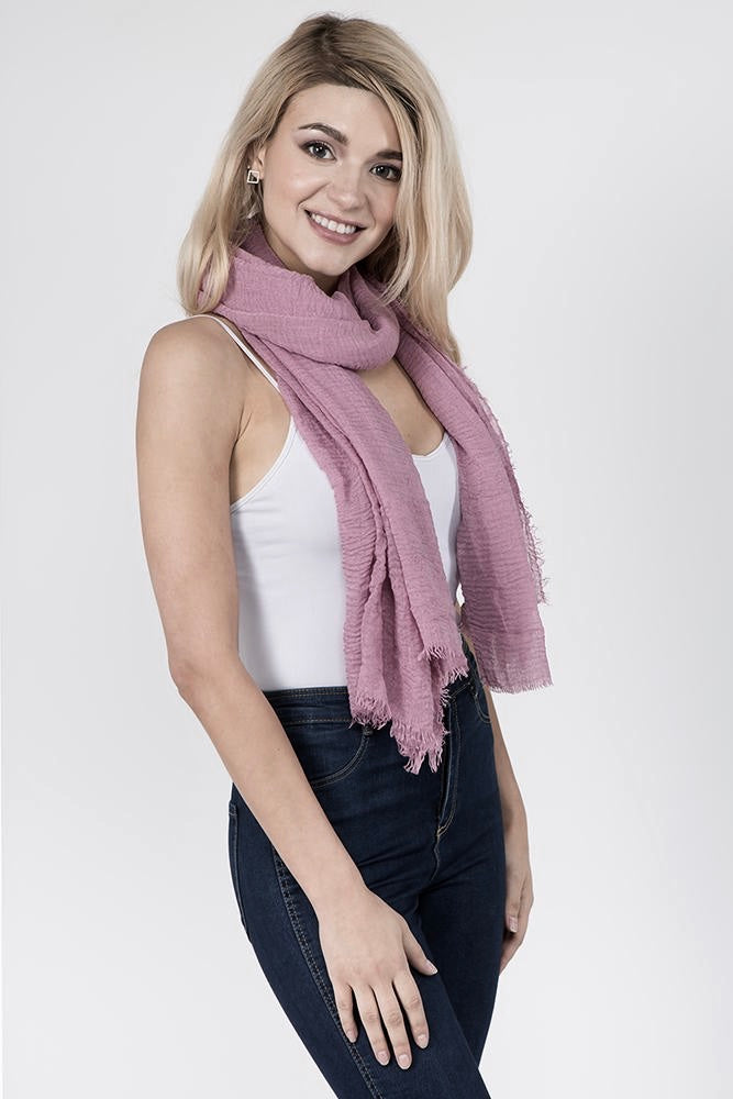 Pink Solid Scarf (2 pcs)-Scarves + Wraps-Wholesale-Boutique-Clothing-Accessories