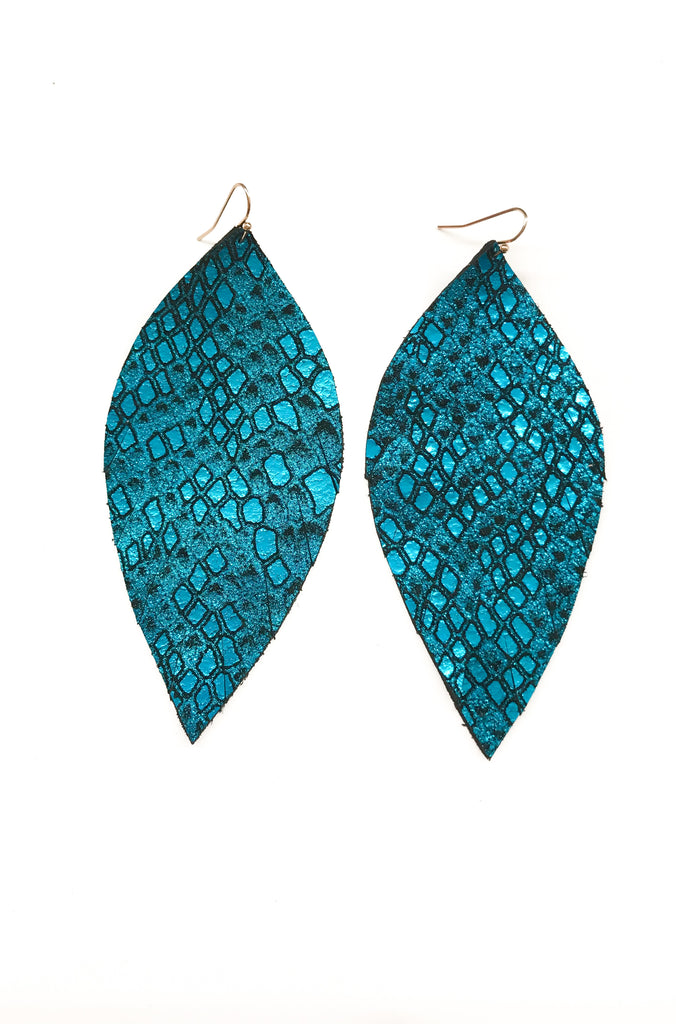 Single Layer Leather Earring - Metallic Teal Snake