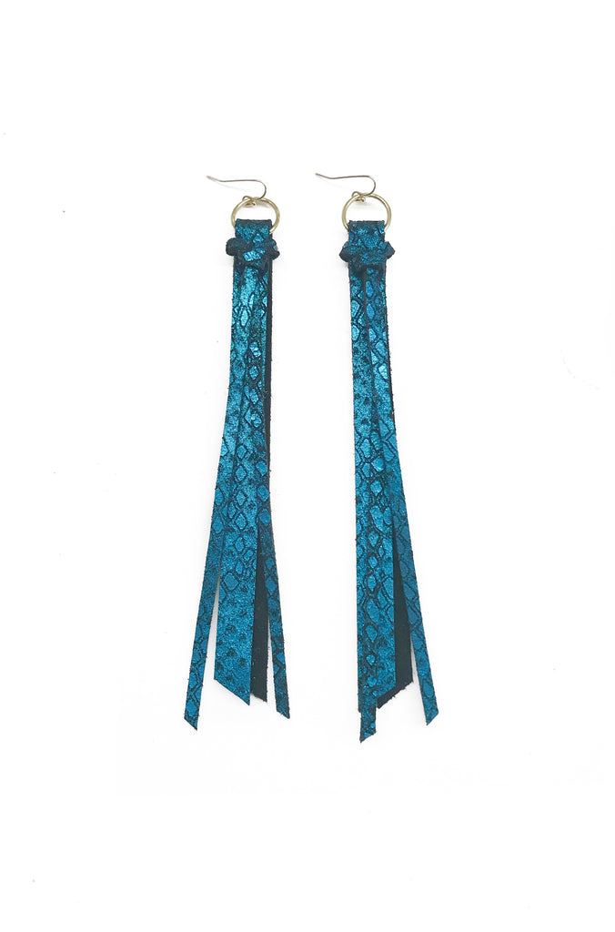 Tassel Leather Earring - Metallic Teal Snake-Tassel Leather Earrings-Wholesale-Boutique-Clothing-Accessories