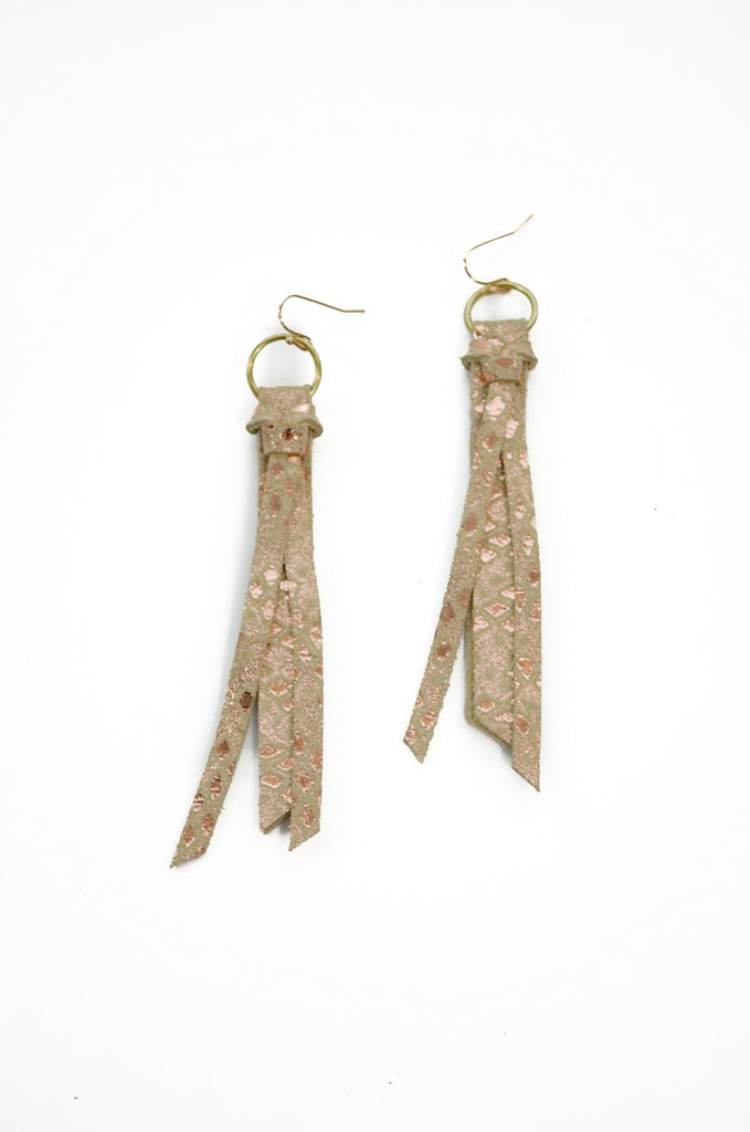 Tassel Leather Earring - Cream Snake