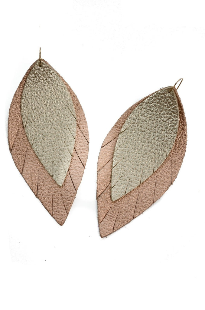 Double Layer Leather Earring - Gold + Rose Gold-Double Layer Earrings-Wholesale-Boutique-Clothing-Accessories