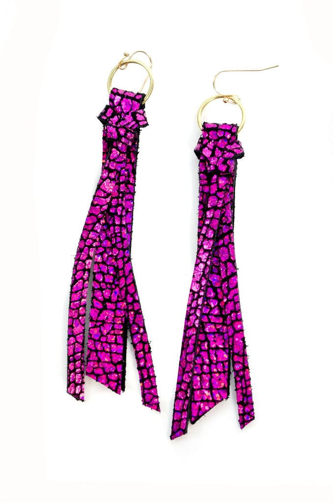 Tassel Leather Earring - Magenta Crackle-Tassel Leather Earrings-Wholesale-Boutique-Clothing-Accessories