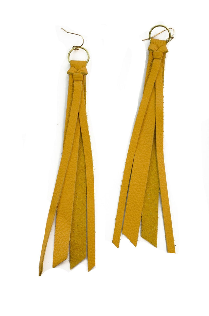 Tassel Leather Earring - Mustard-Tassel Leather Earrings-Wholesale-Boutique-Clothing-Accessories