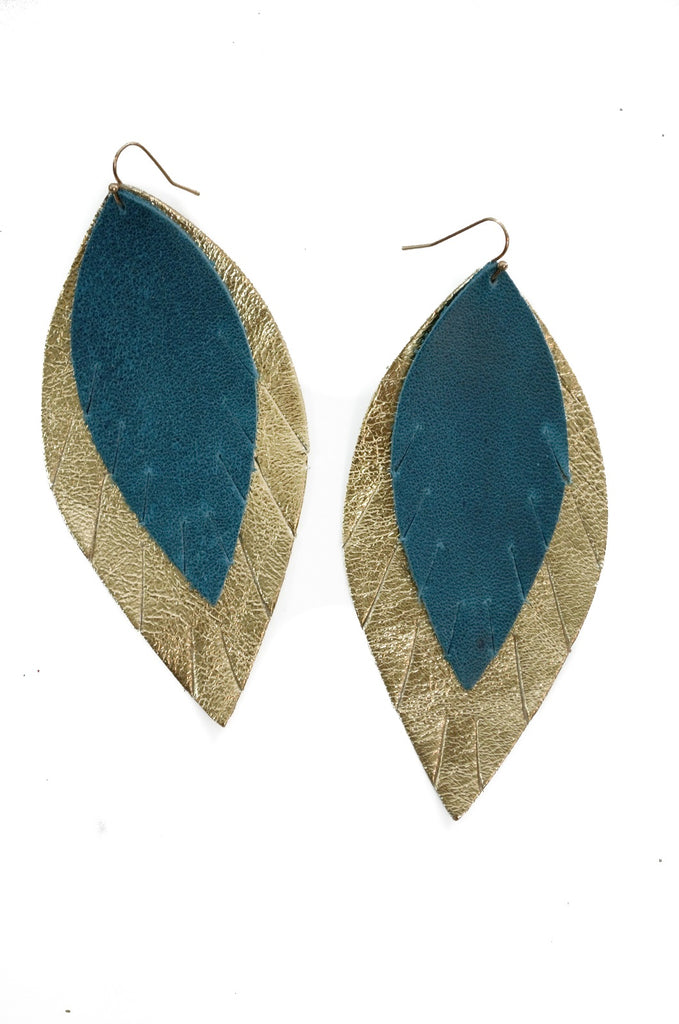 Double Layer Leather Earring - Teal + Gold-Double Layer Earrings-Wholesale-Boutique-Clothing-Accessories