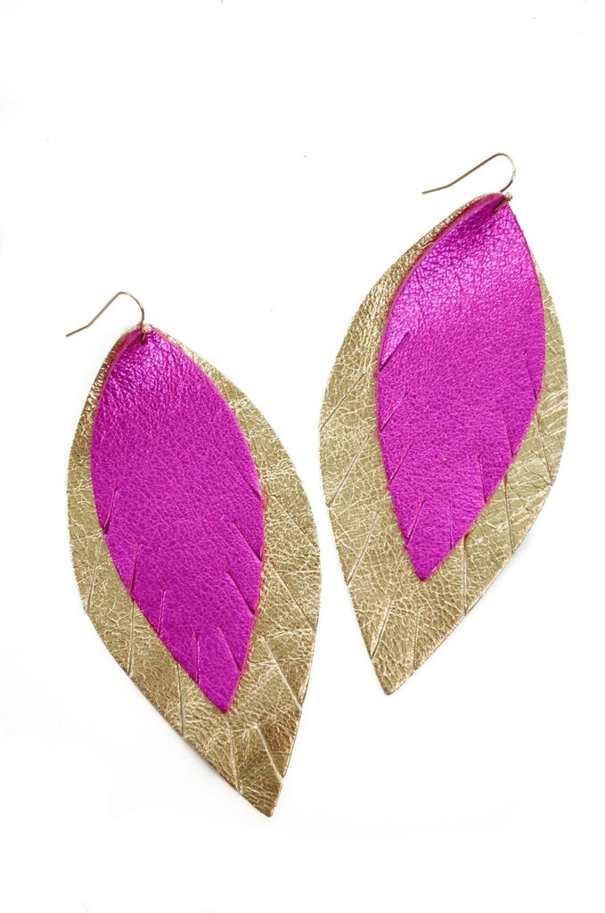 Double Layer Leather Earring - Metallic Magenta + Gold-Double Layer Earrings-Wholesale-Boutique-Clothing-Accessories