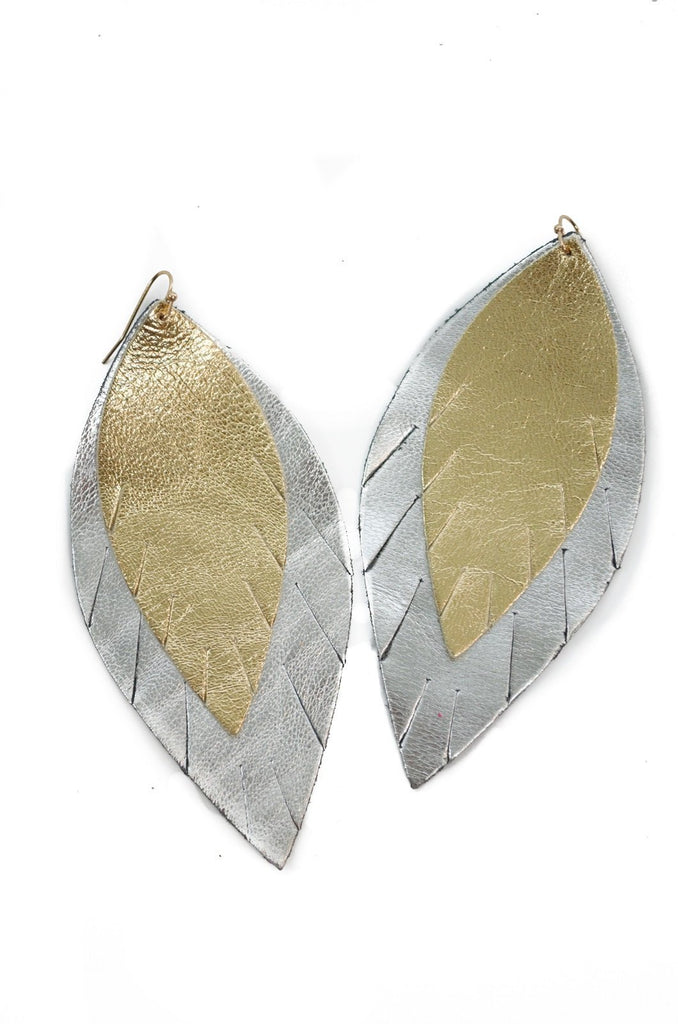 Double Layer Leather Earring - Gold + Silver-Double Layer Earrings-Wholesale-Boutique-Clothing-Accessories