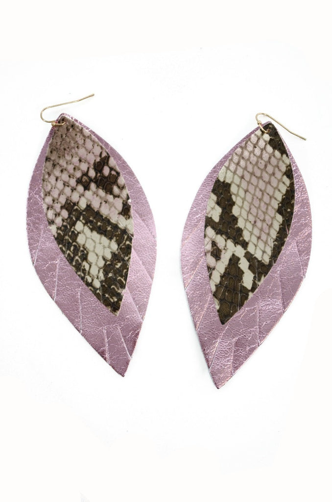 Double Layer Leather Earring - Snakeskin + Pink Metallic-Double Layer Earrings-Wholesale-Boutique-Clothing-Accessories
