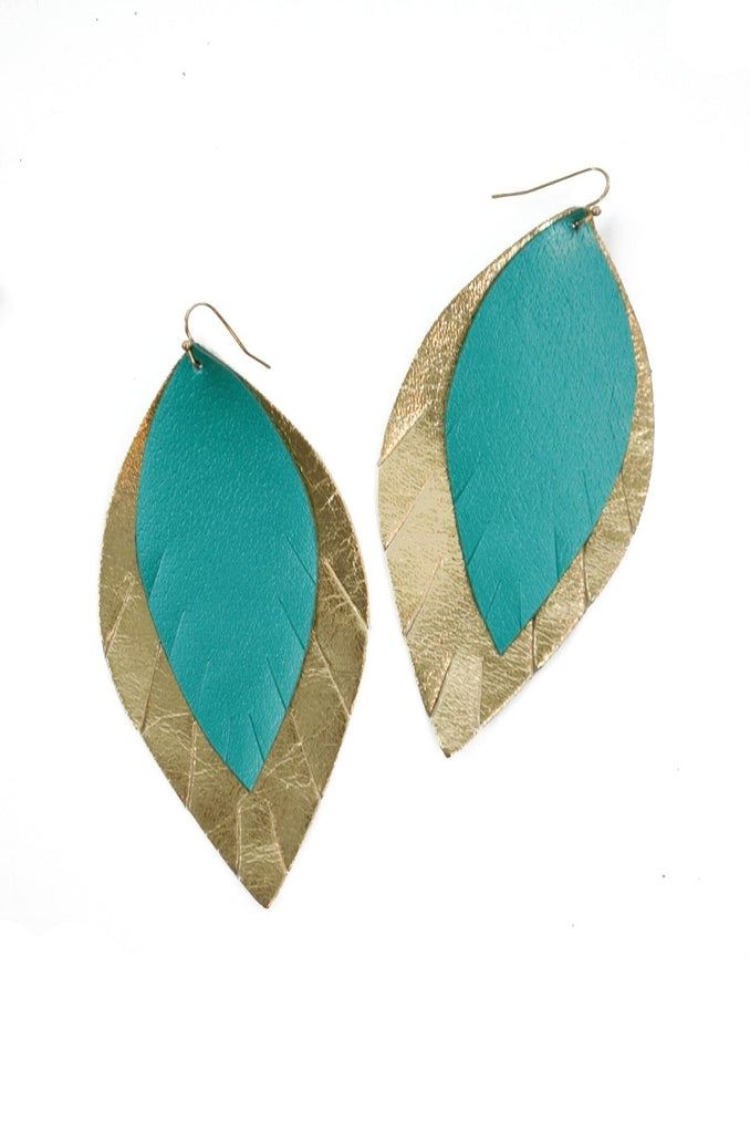 Double Layer Leather Earring - Metallic Turquoise + Gold-Double Layer Earrings-Wholesale-Boutique-Clothing-Accessories