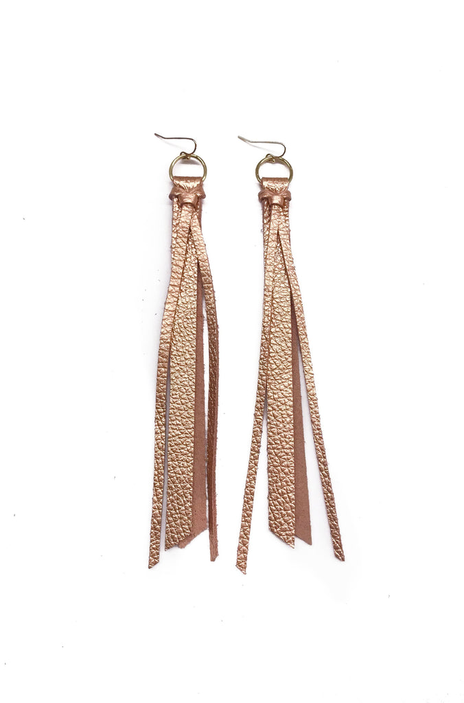 Tassel Leather Earring - Rose Gold Pebbled-Tassel Leather Earrings-Wholesale-Boutique-Clothing-Accessories