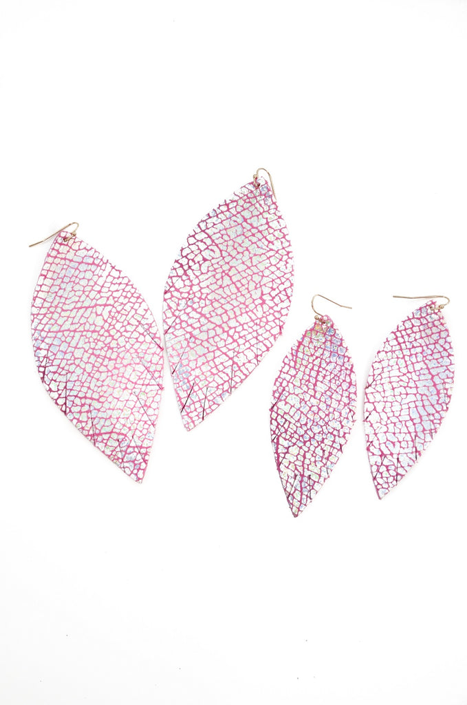 Single Layer Leather Earring - Light Pink Crackle