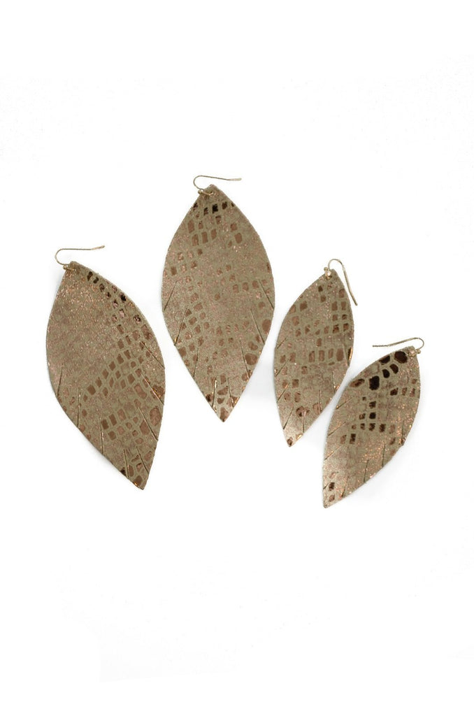 Single Layer Leather Earring - Cream Gold Snake