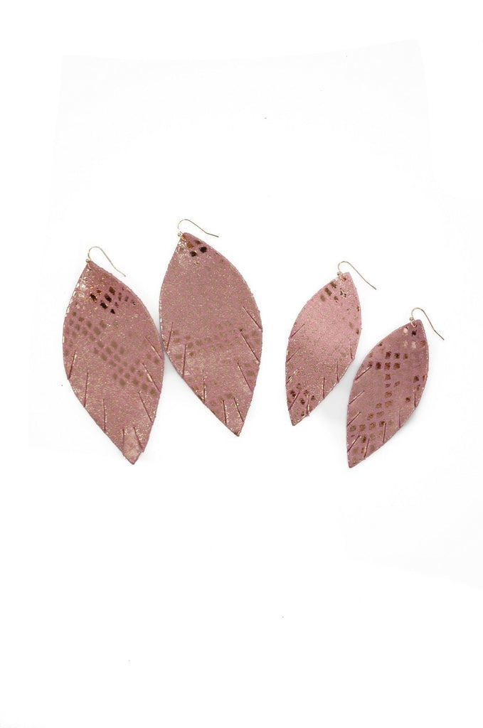Single Layer Leather Earring - Rose Pink Snake