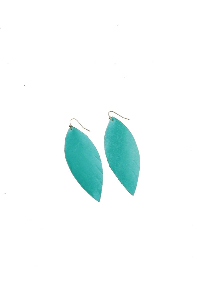 Single Layer Leather Earring - Metallic Turquoise