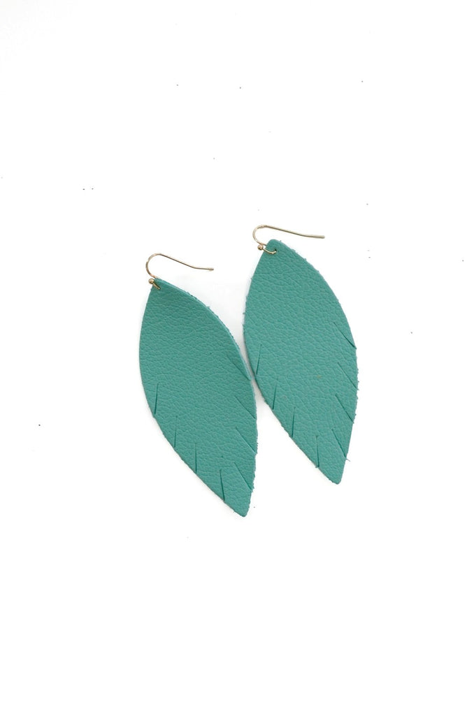 Single Layer Leather Earring - Matte Turquoise