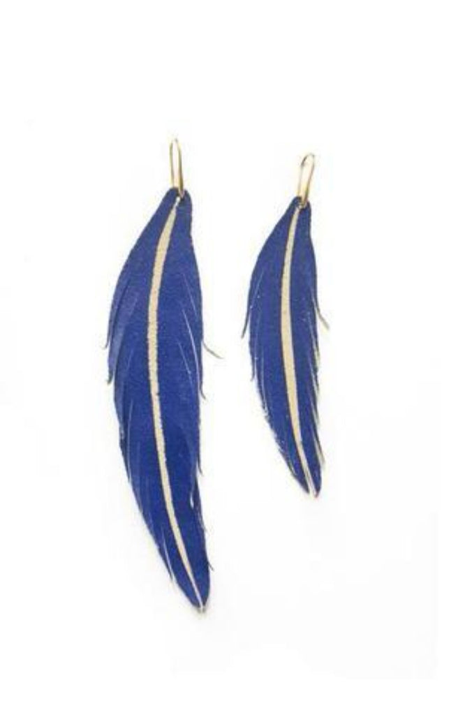Long Feather Leather Earring - Tan Sparkle-Long Feather Leather Earrings-Wholesale-Boutique-Clothing-Accessories