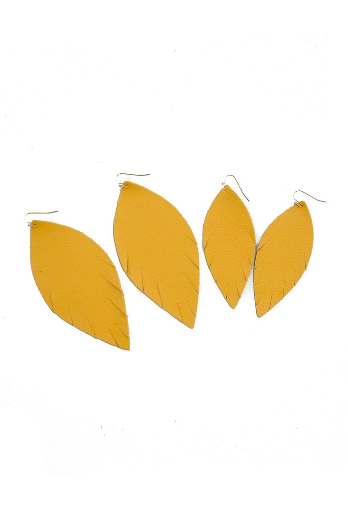 Genuine Leather Single Layer Leather Earrings - Mustard Yellow