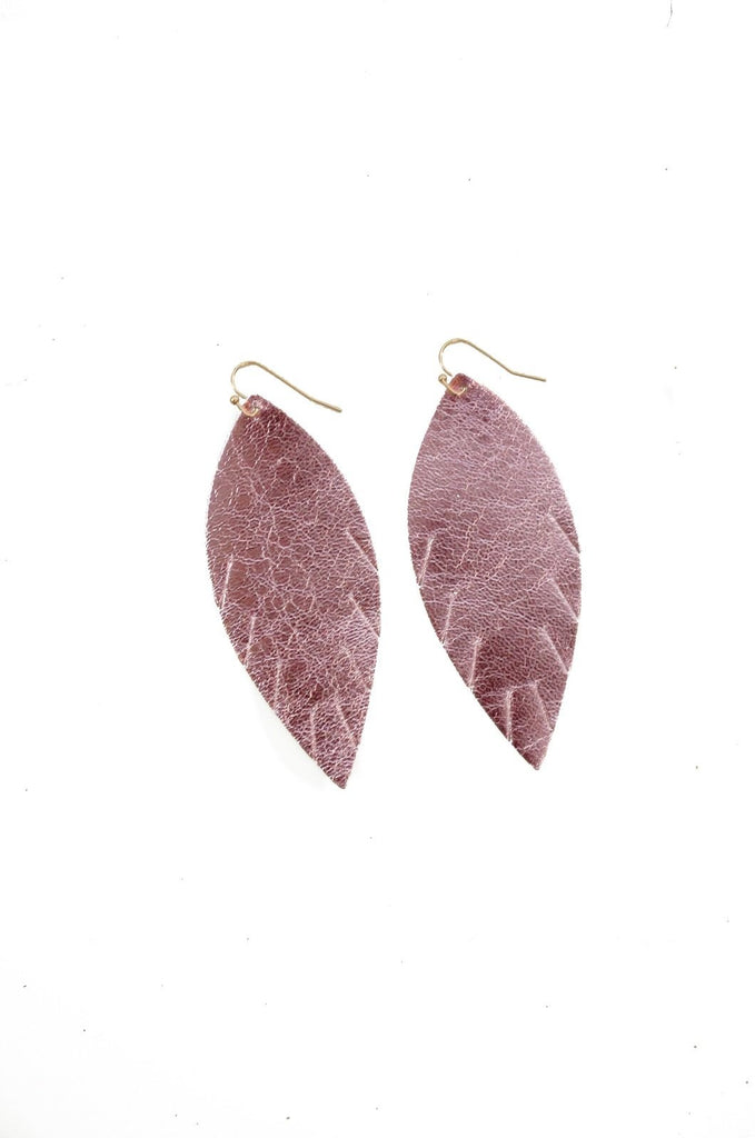 Single Layer Leather Earring - Metallic Pink
