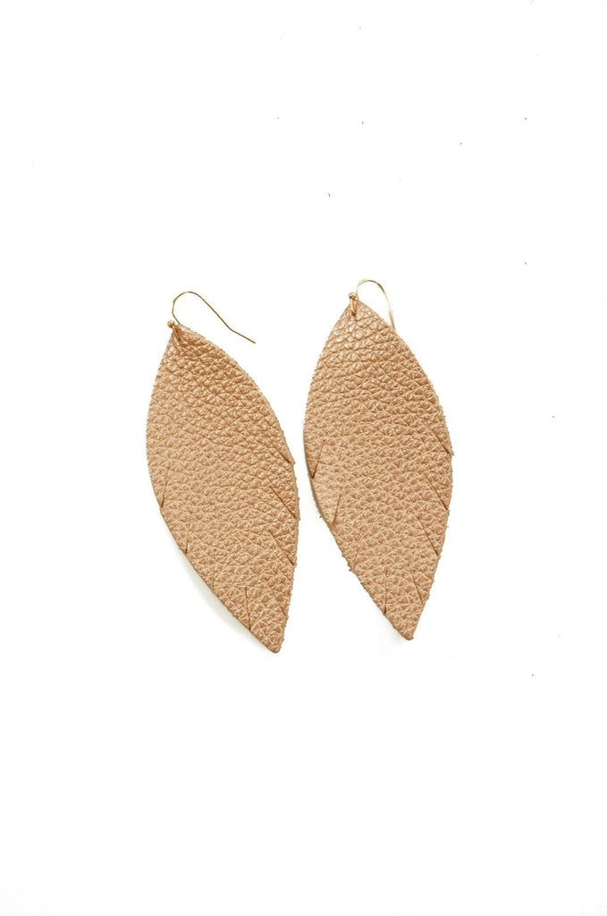Single Layer Leather Earring - Rose Gold Pebbled