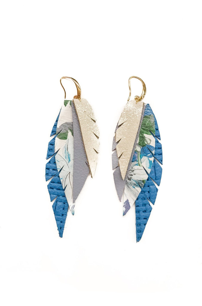 Layered Leather Earring- Blue Floral
