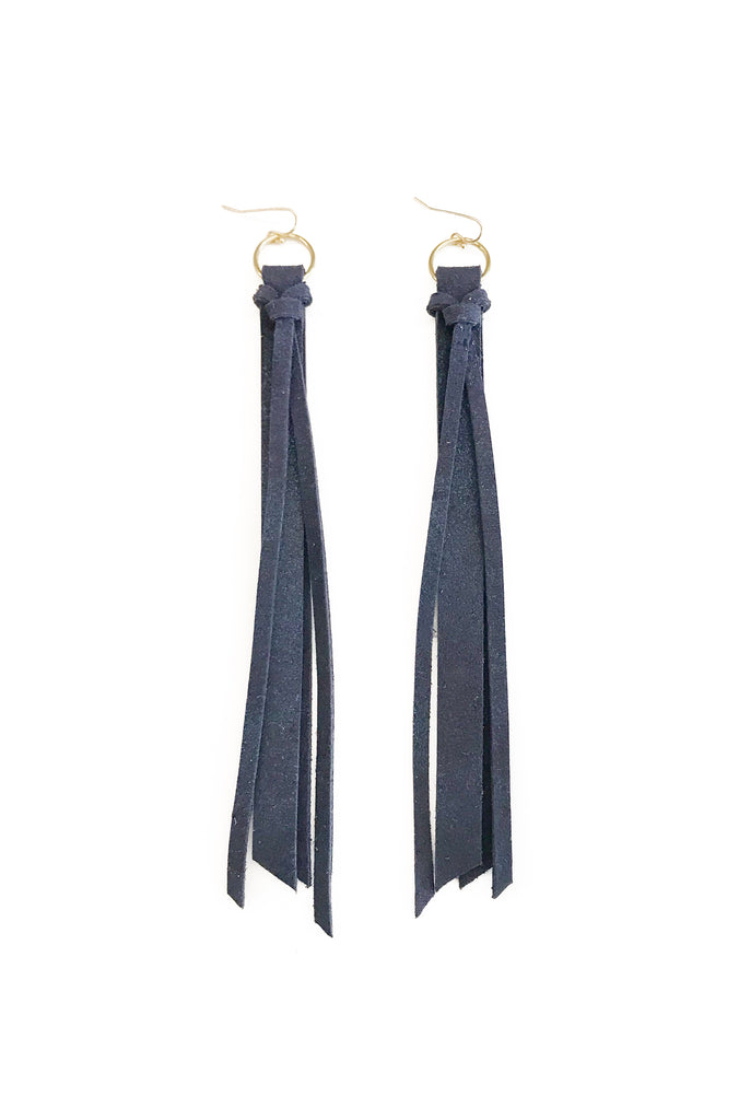 Tassel Leather Earring - Navy-Tassel Leather Earrings-Wholesale-Boutique-Clothing-Accessories