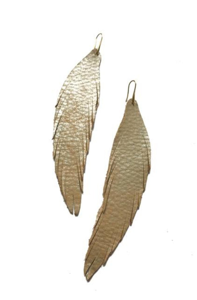 Long Feather Leather Earring - Tan Metallic-Long Feather Leather Earrings-Wholesale-Boutique-Clothing-Accessories