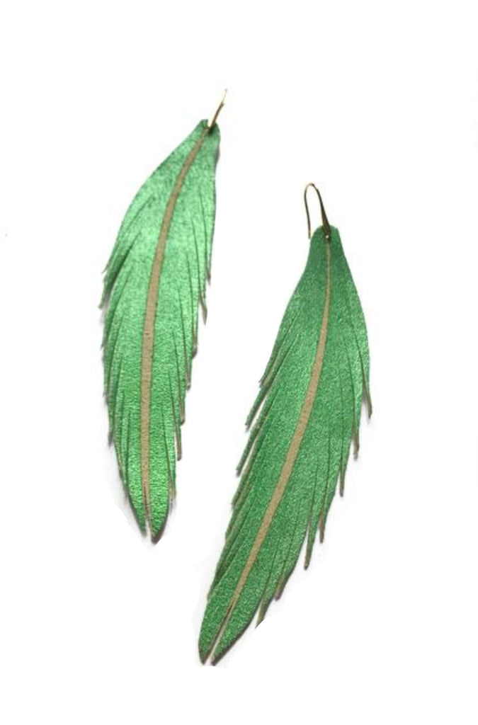 Long Feather Leather Earring - Green Shimmer Painted-Long Feather Leather Earrings-Wholesale-Boutique-Clothing-Accessories