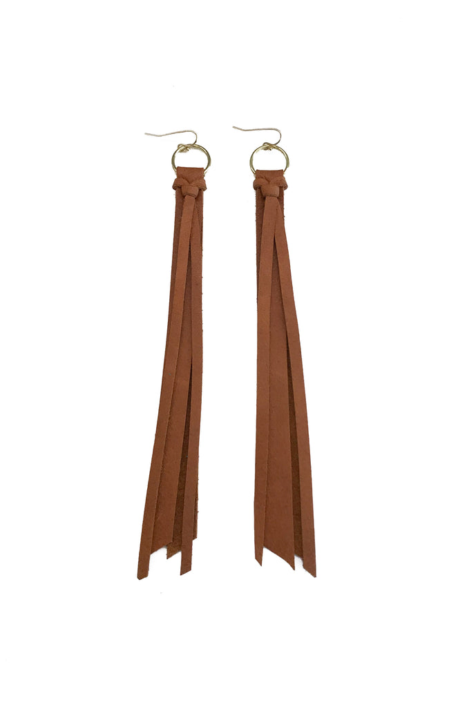 Tassel Leather Earring - Cognac-Tassel Leather Earrings-Wholesale-Boutique-Clothing-Accessories