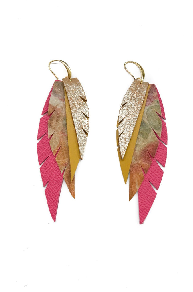 Layered Leather Earring- Pink Floral