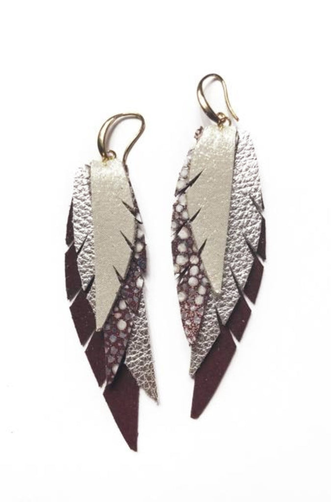 Layered Leather Earring- Maroon and Silver