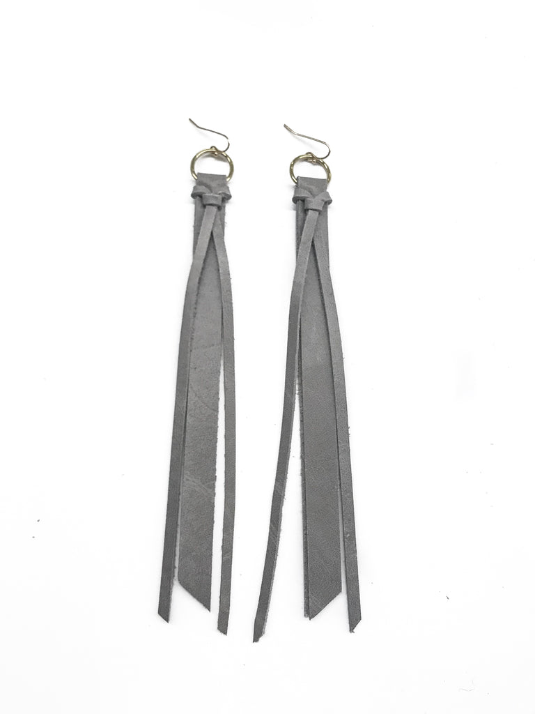 Tassel Leather Earring - Matte Gray-Tassel Leather Earrings-Wholesale-Boutique-Clothing-Accessories