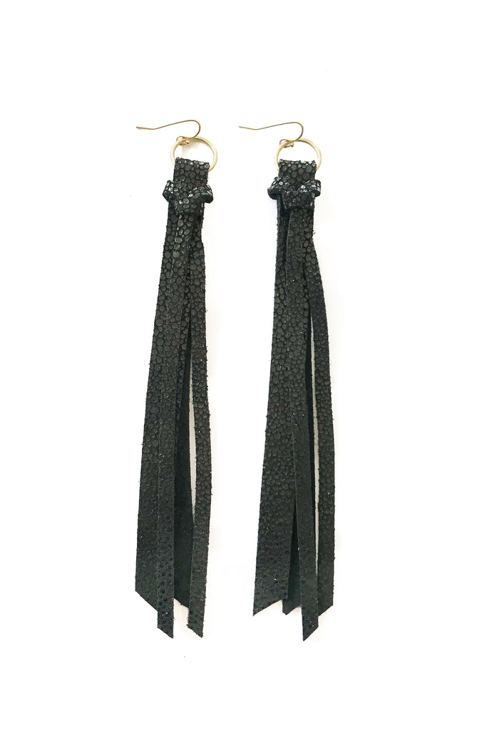 Tassel Leather Earring - Shiny Black-Tassel Leather Earrings-Wholesale-Boutique-Clothing-Accessories