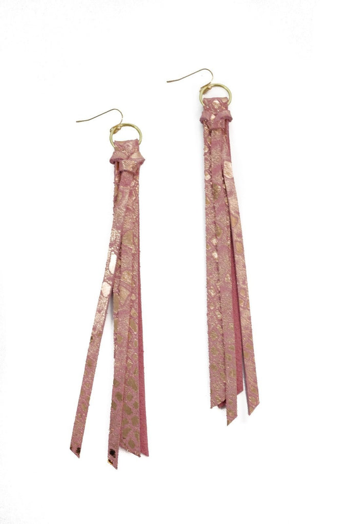 Tassel Leather Earring - Pink Snake-Tassel Leather Earrings-Wholesale-Boutique-Clothing-Accessories