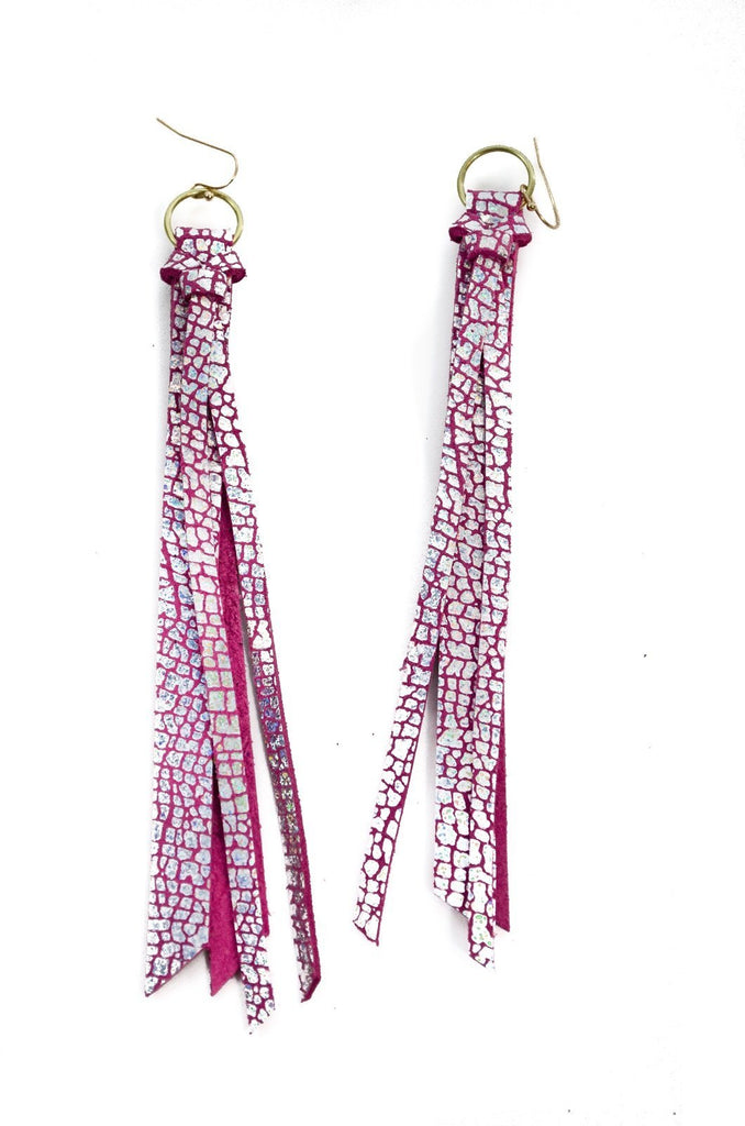 Tassel Leather Earring - Pink Crackle-Tassel Leather Earrings-Wholesale-Boutique-Clothing-Accessories
