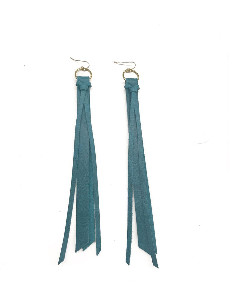 Tassel Leather Earring - Teal-Tassel Leather Earrings-Wholesale-Boutique-Clothing-Accessories