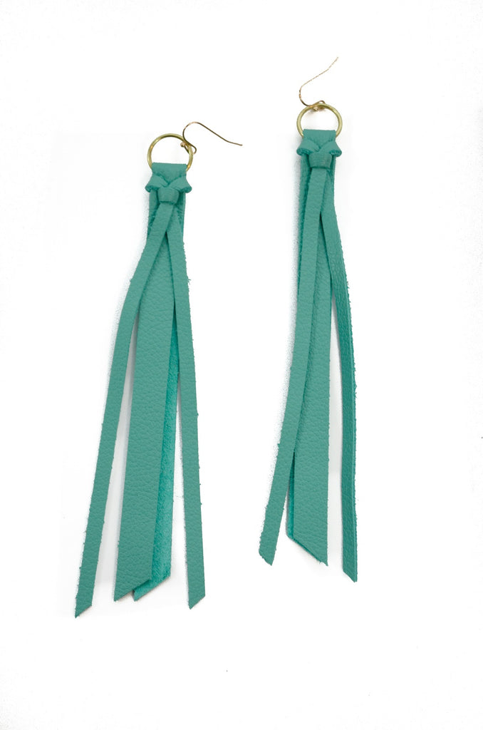 Tassel Leather Earring - Aqua-Tassel Leather Earrings-Wholesale-Boutique-Clothing-Accessories