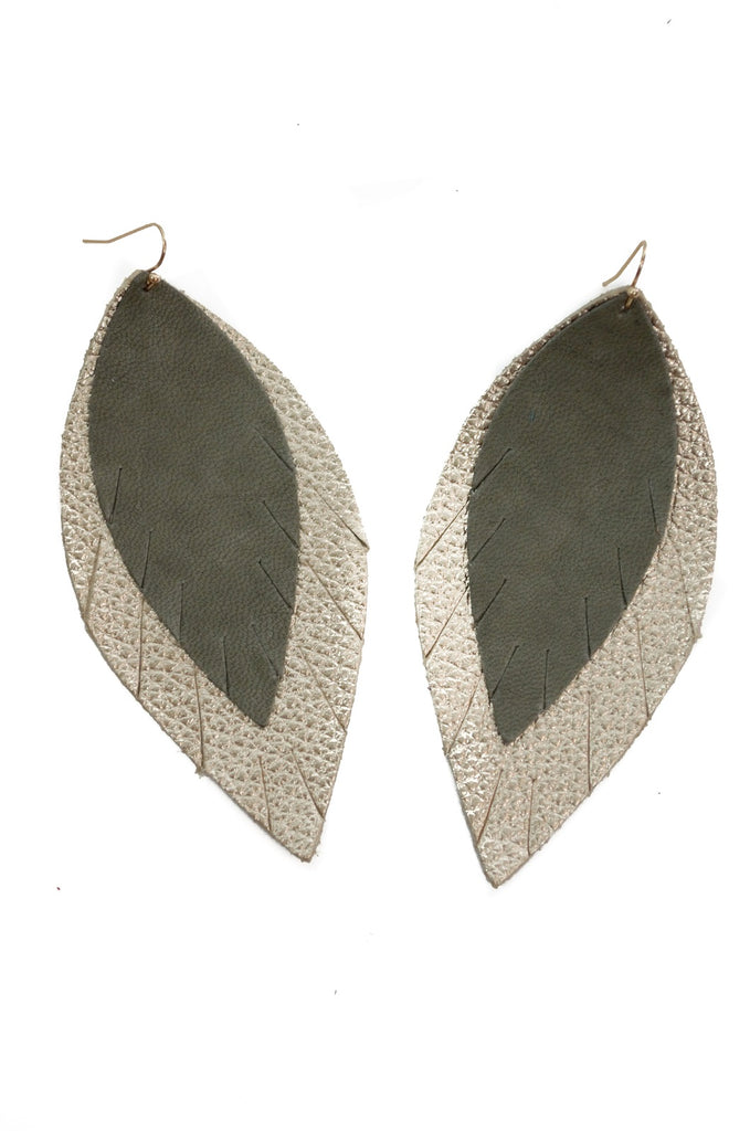 Double Layer Leather Earring - Olive + Gold-Double Layer Earrings-Wholesale-Boutique-Clothing-Accessories