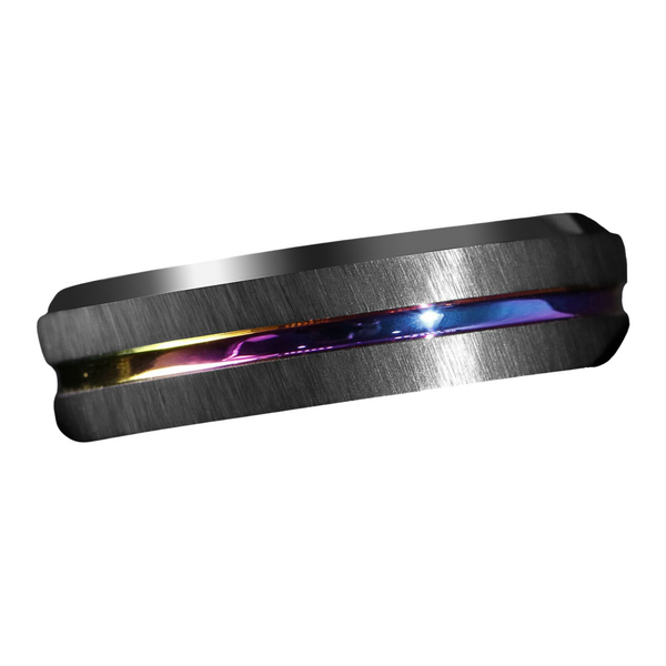 6MM Black Brushed Tungsten Carbide Ring Rainbow Line Wedding Band