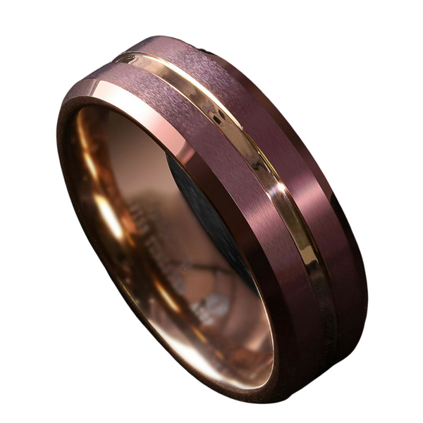 Brushed Brown Tungsten Mens Ring