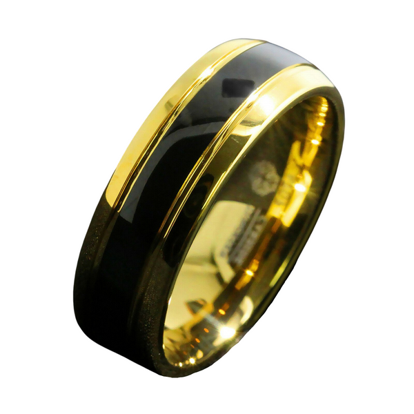 Black Dome 18K Gold Tungsten Ring