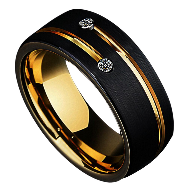 Black Brushed Tungsten Ring Gold Grooved Line