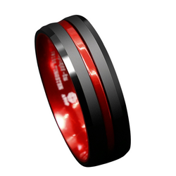 Black Tungsten Carbide Thin Red Line