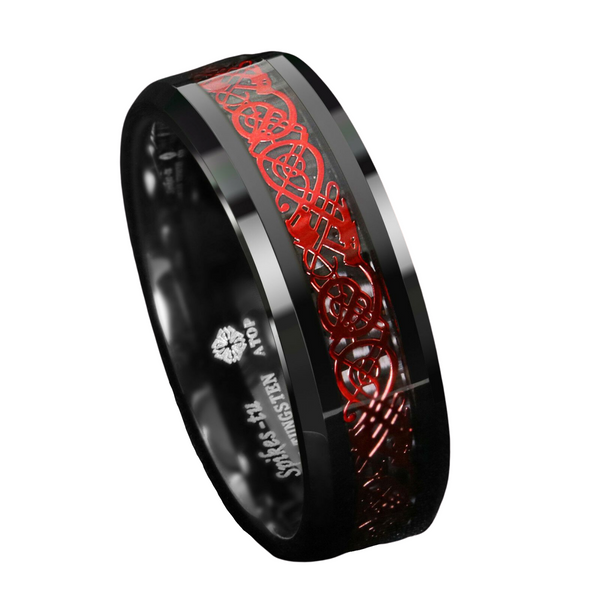 Black Tungsten Ring Red Celtic Dragon