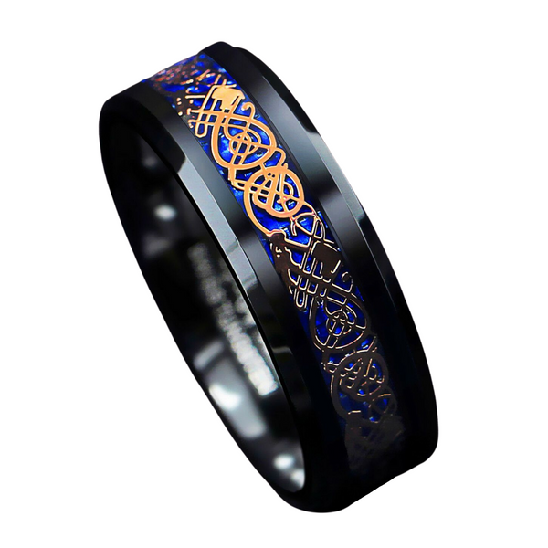 Black Tungsten Ring Rose Gold Celtic Dragon Blue carbon