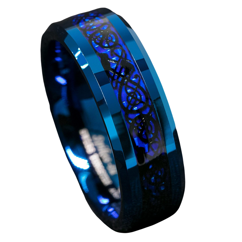 Blue Tungsten Carbide Ring