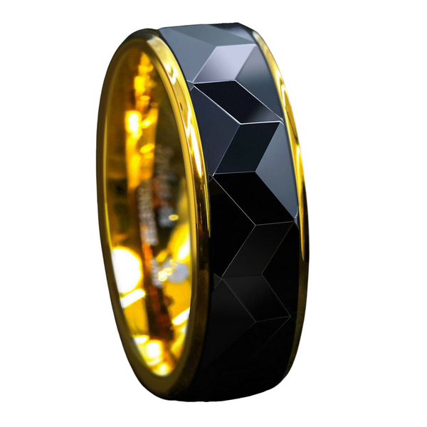 Black Rhombus polished Tungsten ring
